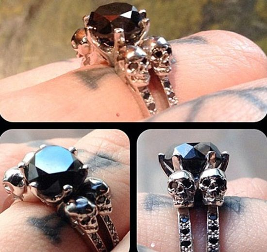 Kat Von D's engagement ring I want the skull holdings but please can I have a black metal n black diamonds!