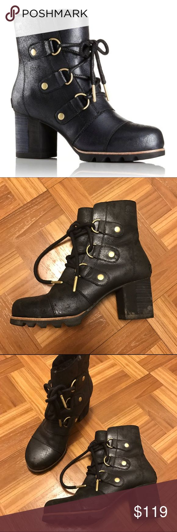 SOREL ADDINGTON lace holiday black boot sz 6 $275 For sale is a pair of Sorel 'addington' lace up boots in size 6. I wore them only a couple of times but the images show the wear. I'd say they are a B+\a- and would be easy to clean up on the heels where needed. Retail is $275.                 Features: full-grain waterproof leather with a subtle metallic sheen, lined with curly fleece, and finished with sandblasted bronze hardware.       Shaft Height: 5 1/2 in. Heel Height: 2 3/4 in…