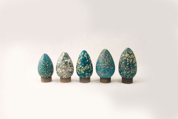 Glass Egg: Beige, Teal Brown,  Bird  Valentine Under by AvolieGlass