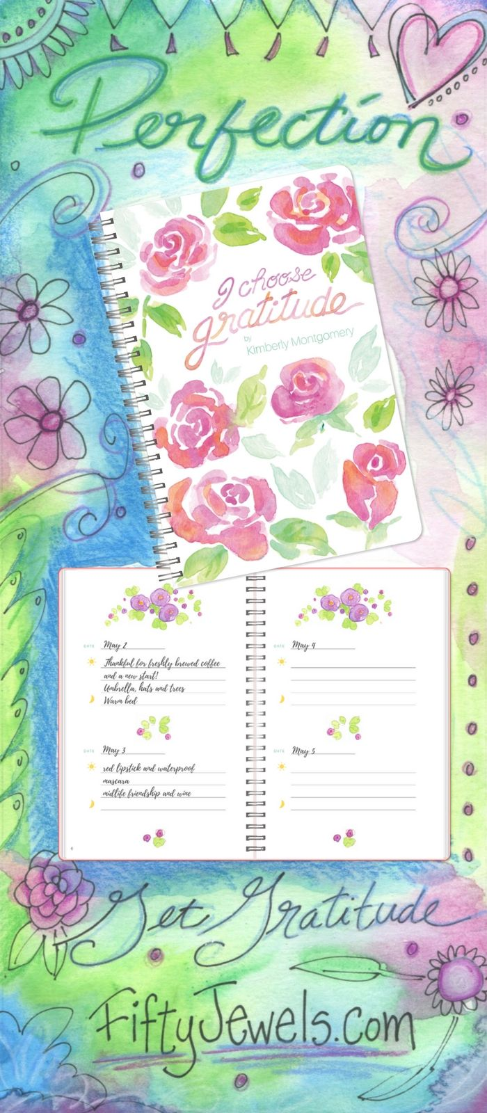Get Happy with Gratitude in this most perfect place for all your blessings! Hand Illustrated, Limited Edition -- you'll want to have one for your own and several for gifts. Pin for later & CLICK now to learn more! http://FiftyJewels.com #gratitude #happiness #journal