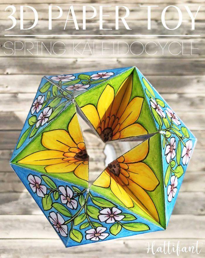 Hattifants Spring Kaleidocycle Paper Toy Papiermodelle Zum Farben