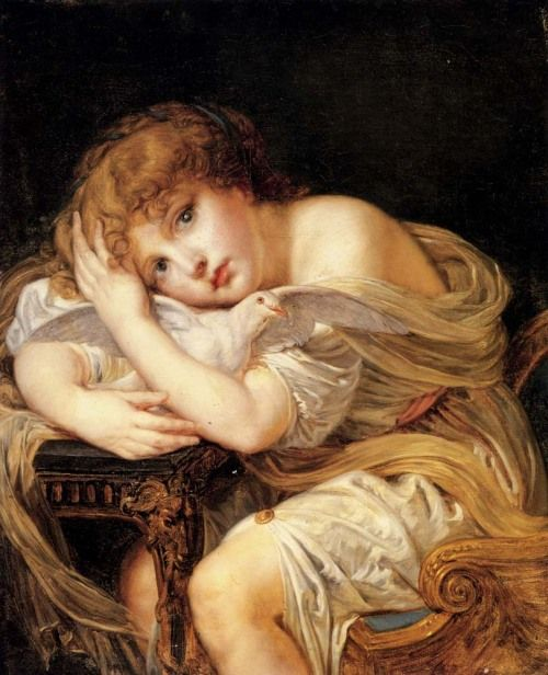 Cave to Canvas, Jean-Baptiste Greuze, A Young Girl Holding a Dove,...