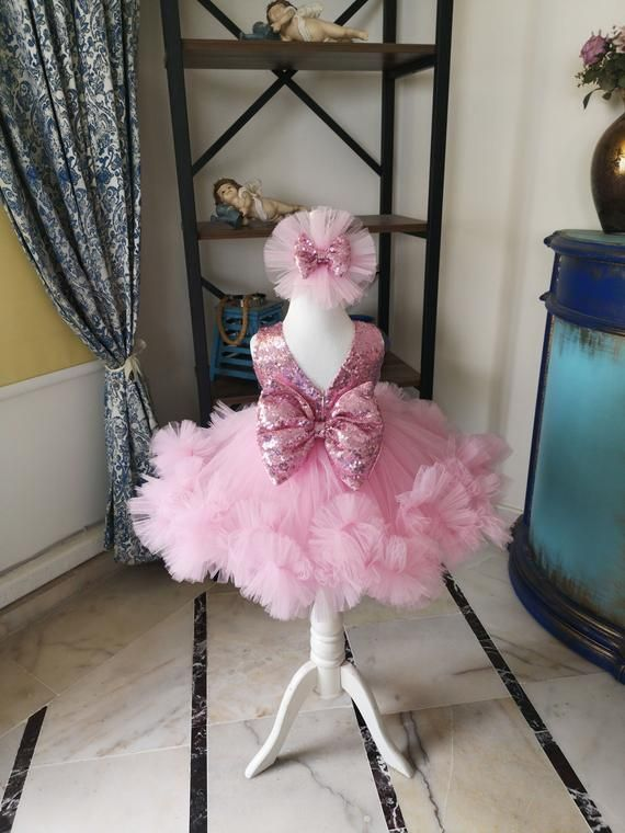 Luxury Girls Dress Pink Sequin Costume Baby Party Dress Flower Birthday Outfit Beautiful Babygirl Costume Fancy Princess Vesture