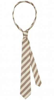De wit met beige gestreepte 100% zijde stropdas