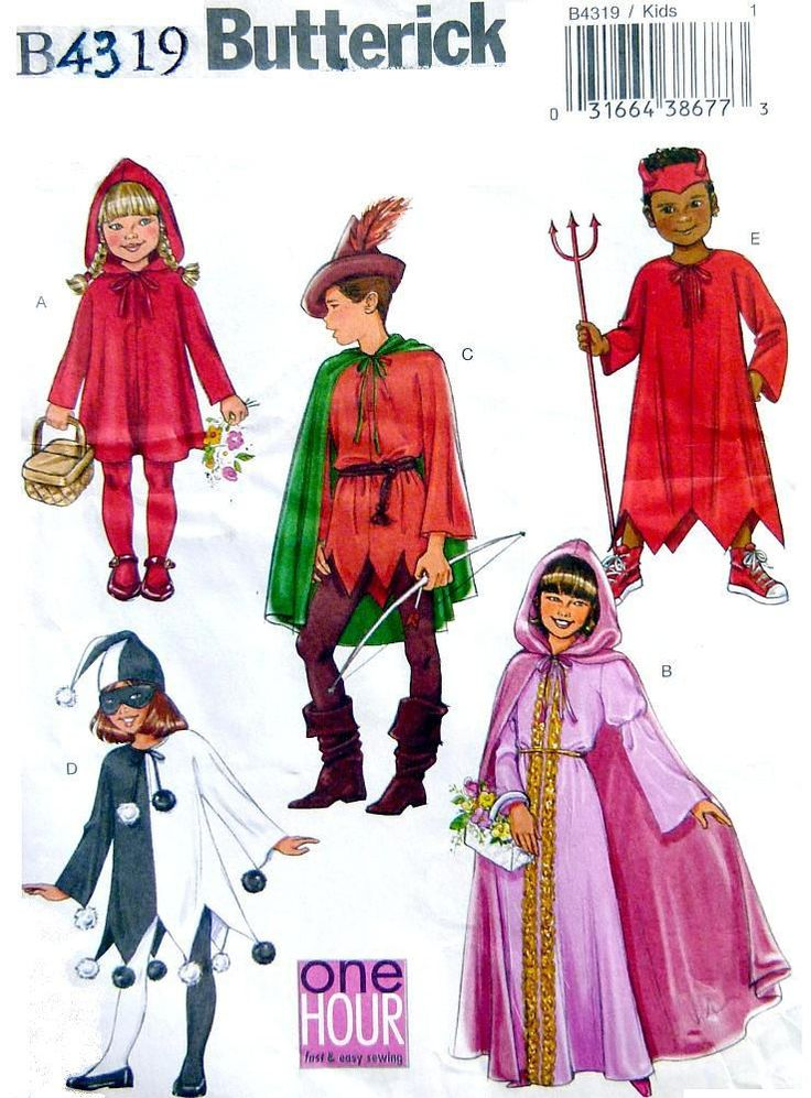 Butterick B4319  Costumes for Kids, Little Red Riding Hood, Robin Hood, Maid Marion, Court Jester, Devil, Sizes 4 to 14 by LaraineRoseHandiWorx on Etsy