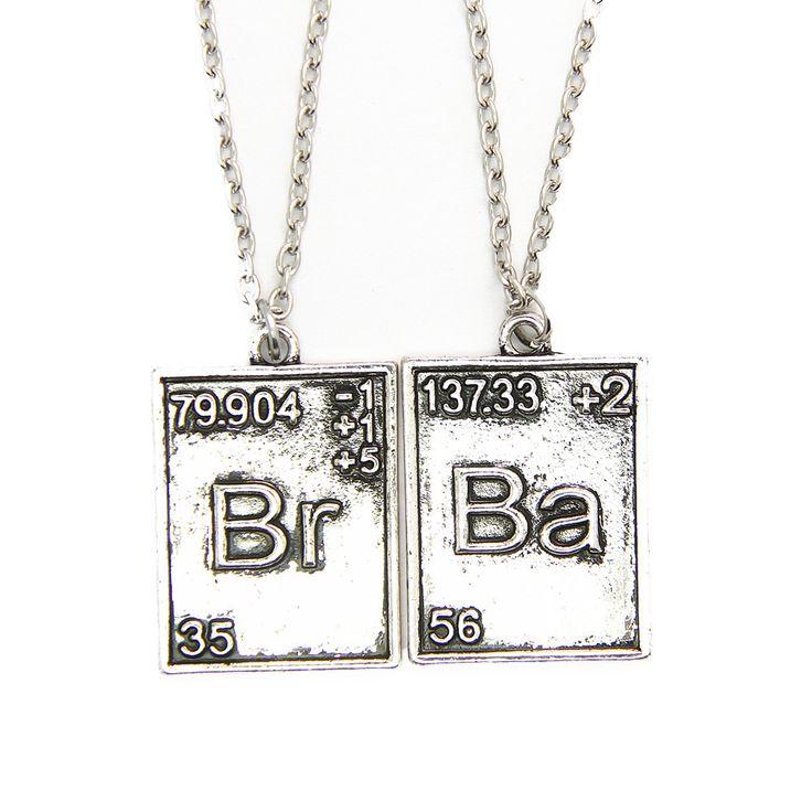 Сообщаем ожерелье старинных старинное серебро прошитой-br ба уолтер уайт гейзенберг химической Symbal кулон для любителя пару CX336