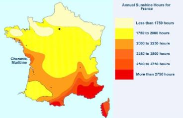 Geography:In this picture you can see the sunlight in different parts of France. In the North there are lots of mountains,it snows for up to 6 months a year. In the South it borders the mediterranean sea,it has hot and dry summers and mild winters. The West borders the Atlantic Ocean, it has lots of rain, and temperatures range based on season. Lastly, in the East there are cold winters and hot summers, it's landlocked so it has a continental climate and is not influenced by a big body of…