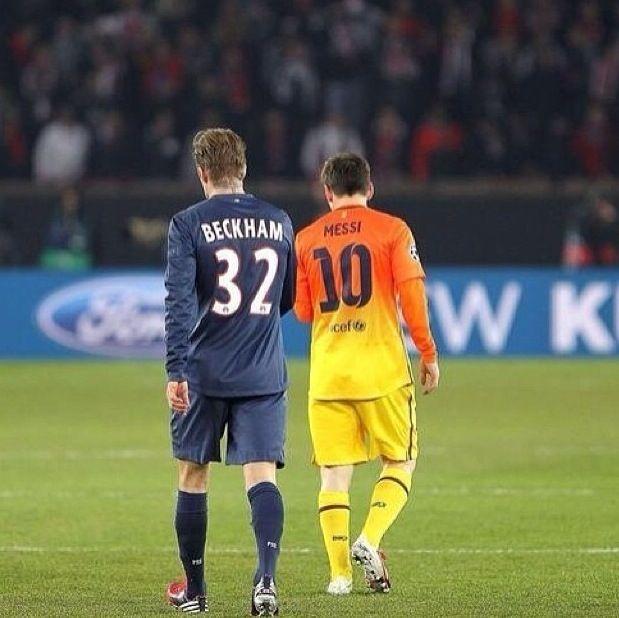 David Beckham and Leo Messi  PSG vs FC Barcelona