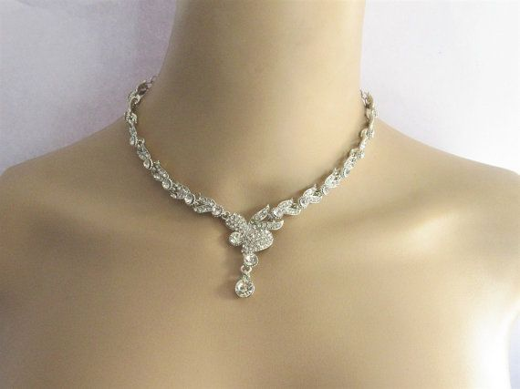 Silver Rhinestones Necklace With Earrings/Silver by Beauteshoppe
