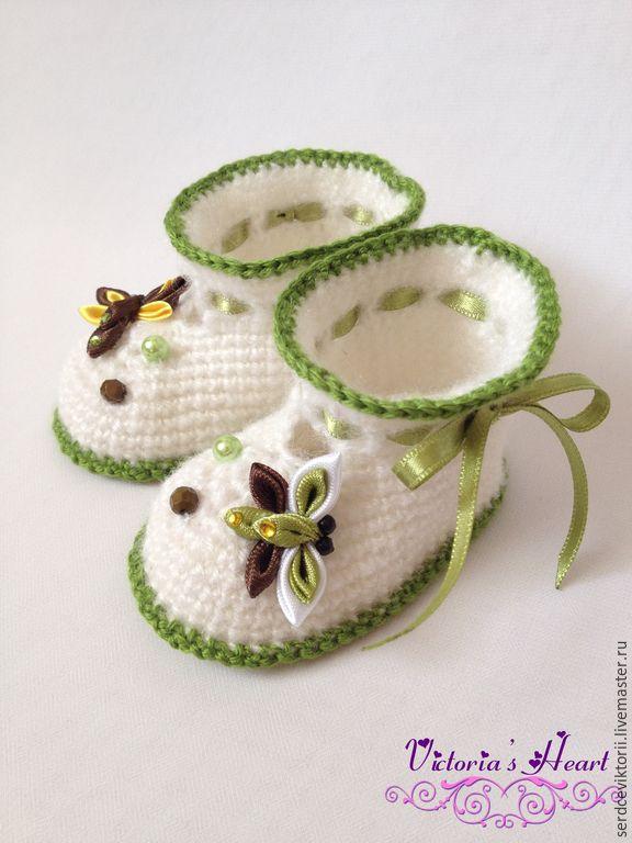 """Пинетки """"Стрекозки"""" - белый, рисунок, пинетки, пинетки для новорожденных, пинетки для малыша, пинетки для мальчика, handmade"""