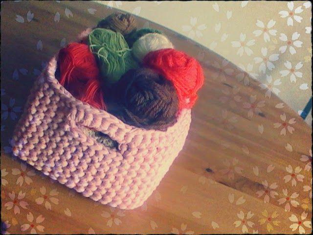 trapillo: cesta rectangular tejida a crochet