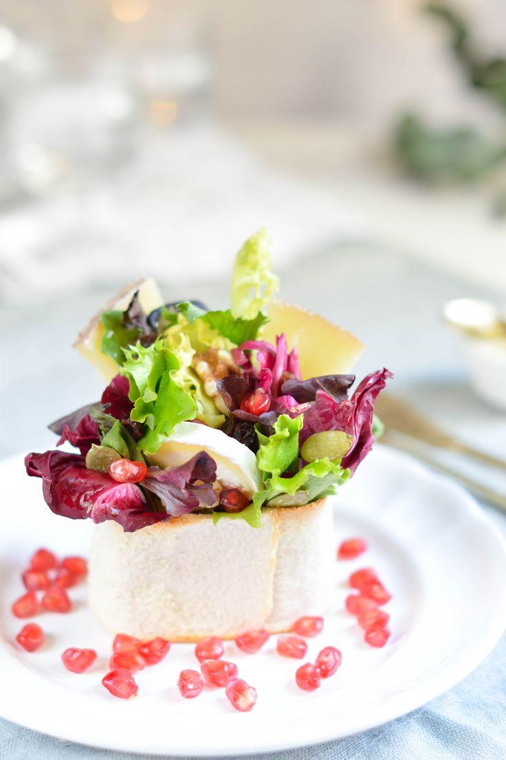 Ensalada en vasito de pan crujiente. Aprende una manera preciosa de servir una ensalada.