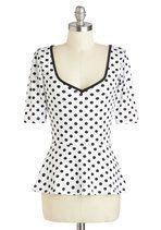 Giddy City Top in Polka Dots | Mod Retro Vintage Short Sleeve Shirts | ModCloth.com 47.99 sz xl or lg