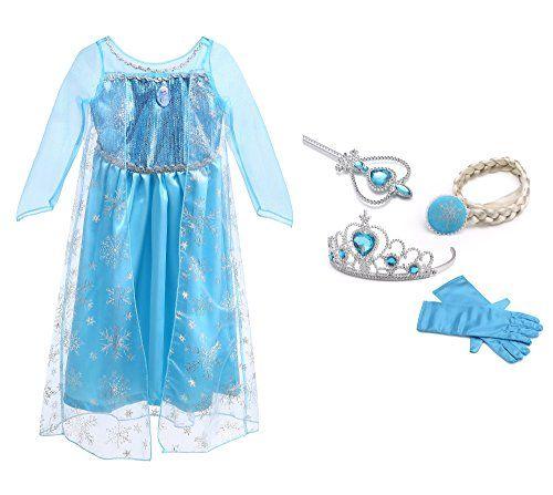 URAQT La Reine des Neiges Elsa Costume et Accessoires Gants Couronne Baguette Tresse Robe Longue deguisement Pour Fille (Taille 100) pour…