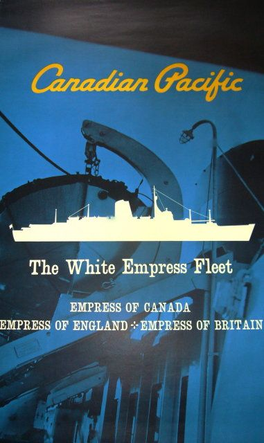 Orig. Canadian Pacific Poster White Empress Fleet 1960s #design #canada