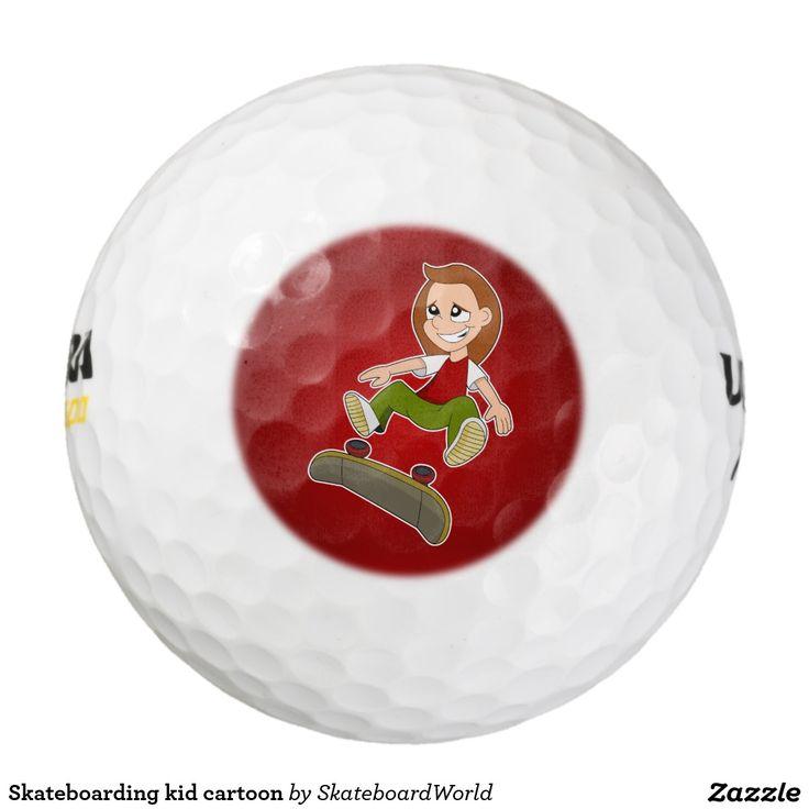 Skateboarding kid cartoon pack of golf balls
