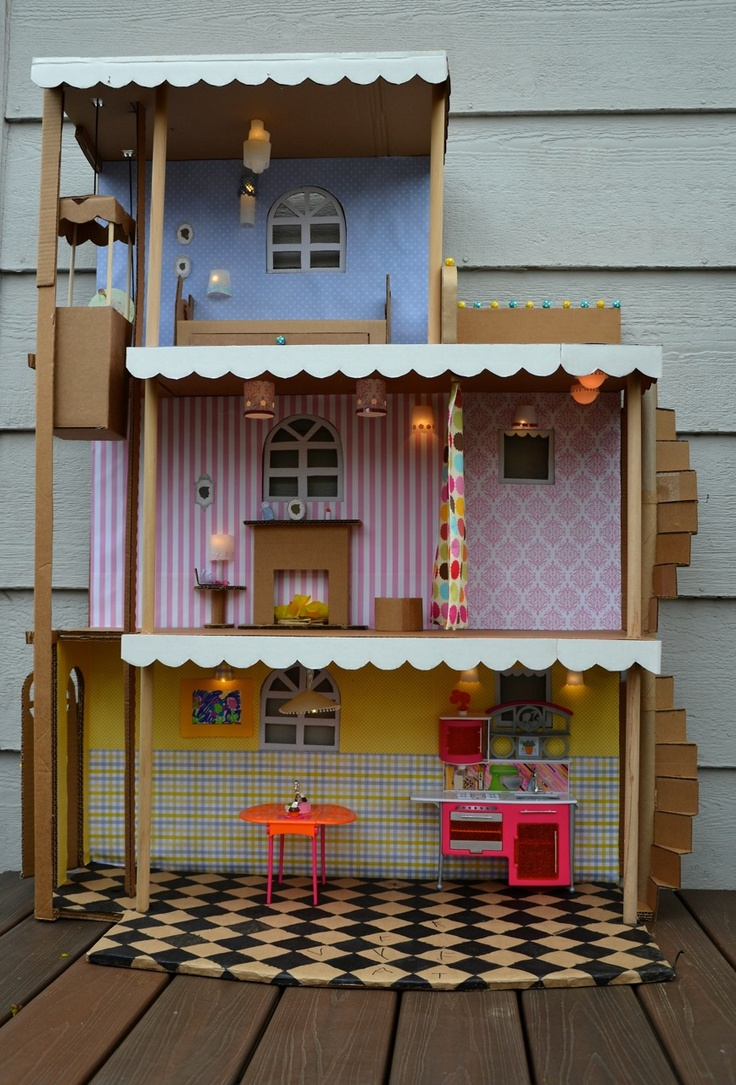 I made a barbie house like this when I was a kid Just a cardboard box wallpaper samples ask