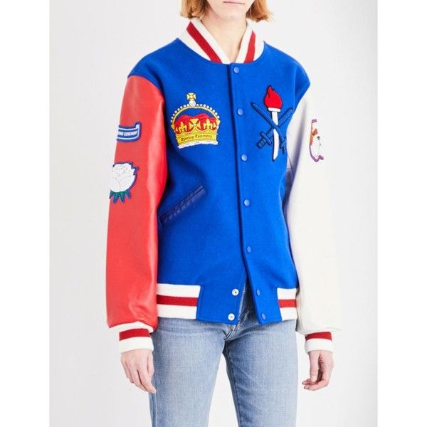 Opening Ceremony UK wool-blend varsity jacket ($510) ❤ liked on Polyvore featuring outerwear, jackets, blue jackets, leather sleeve jacket, long jacket, collar jacket and embroidered jacket