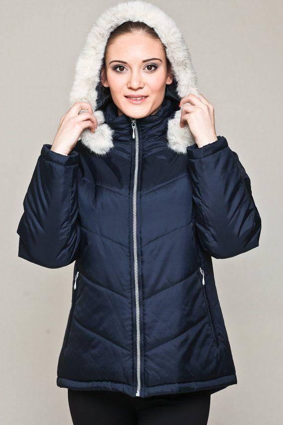 Chaqueta globo marino / corta chaqueta / abrigo con capucha invierno abrigo con capucha desmontable / imitación capucha de piel / Marina de guerra capa