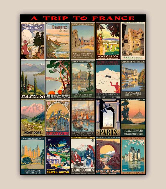 Travel Posters Collection Trip To France 11x14 Print Vintage Illustrations  Posters Wall Art Decor,home