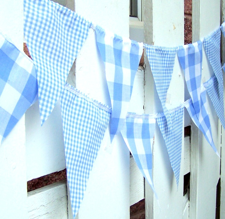 Party Banner, Bunting, 21 Pennant Flags, Vintage Style Gingham Blue, 9 Feet, Wedding Decorations, Baby Boy Shower, Nursery Decor. $28.00, via Etsy.