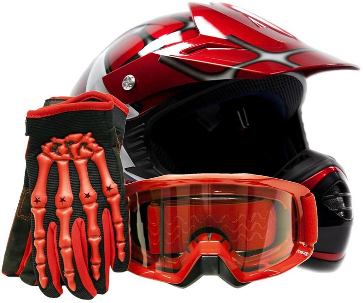 Be prepared for motocross or off-roading with youth motocross gear from Typhoon Helmets. Combo includes red Spiderman youth helmet with red gloves and goggles.