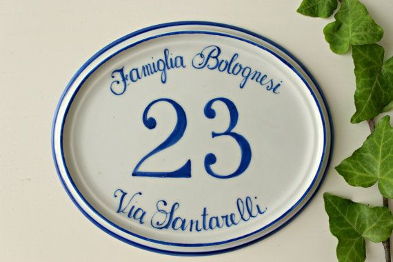 Address plaque handpainted on porcelain. Outdoor  house  number , house sign, house name plaque.