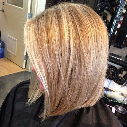COLOR Cute mid length angled bob.