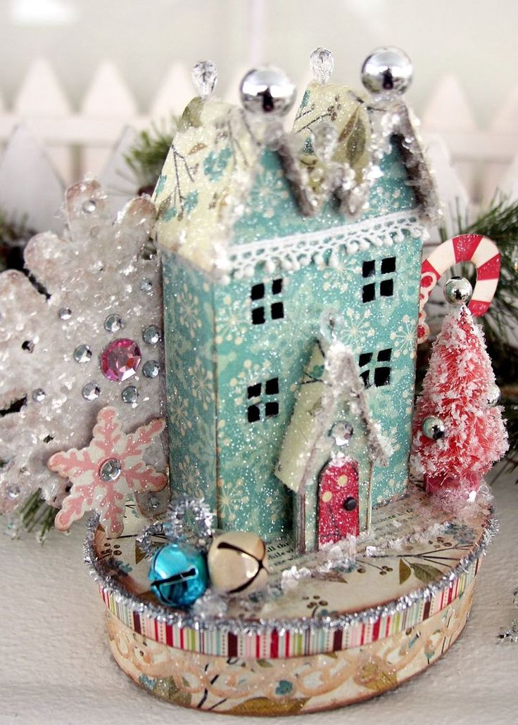 """""""These little vintage style houses are great on top of a box to use for holiday décor and gift giving. They are also a fun size to use for an ornament for your tree. The house patterns can be downloaded at the Victoria Magazine website. They take some time and a little patience, but are worth it in the end. You could also buy pre-made paper mache houses at a craft store.""""    IMG_0157"""