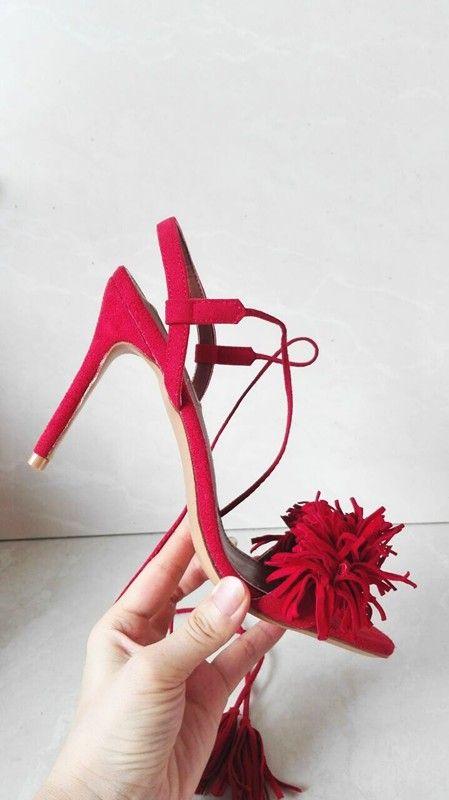 Aliexpress.com: Comprar Zapatos de Mujer Sandalias de Tacón de piel de Oveja Tacones Lace Up Fringe Fringe Sandalias de Gladiador Mujeres Sandalias de Cuero Genuinos FS 0042 de Sandalias de las mujeres fiable proveedores en Fashion&sexy home