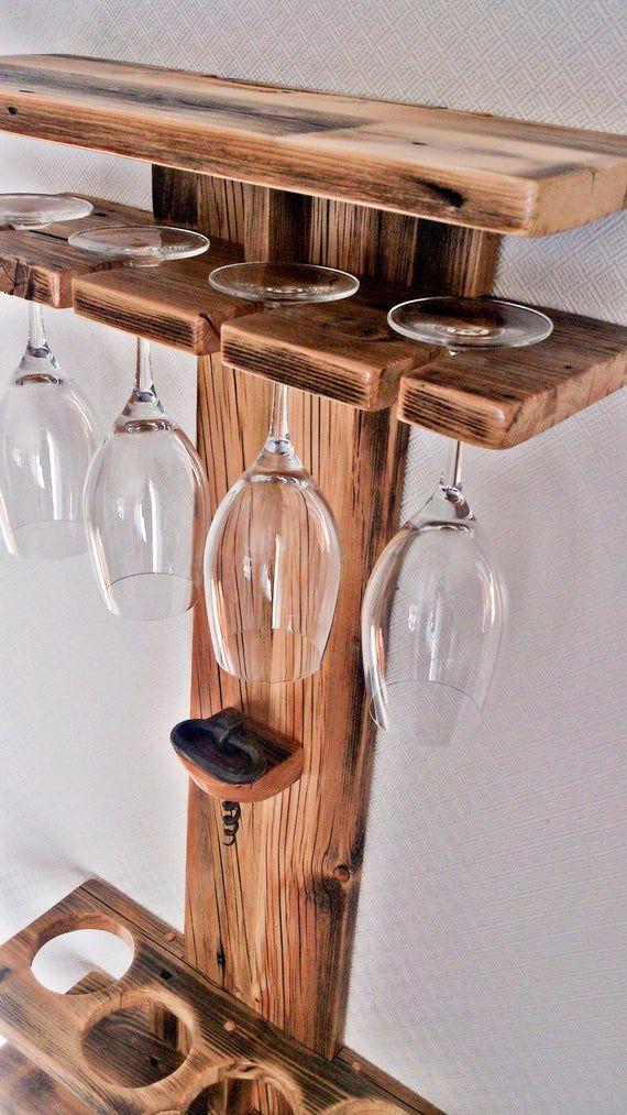 Rustic Wood Wine Rack Wine Shelf Wine Bottle Holder Stemware Glass Holder Wine Organizer Bar Shelf Wall Mounted Wine Glass Rack Botellero Madera Estantería Para Copas De Vino Vinoteca De Madera