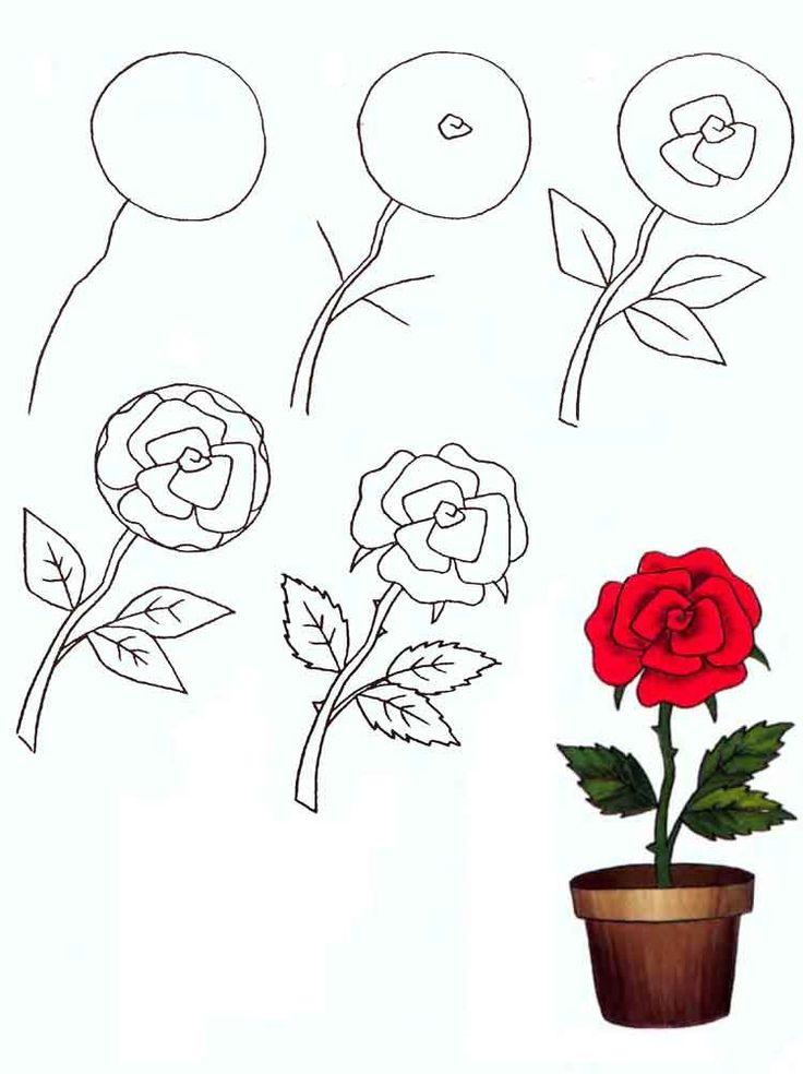 Цветок рисунок карандашом для детей красивый