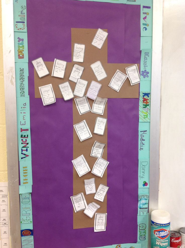 6th Grade Lenten Bulletin Board Filled With Ideas For