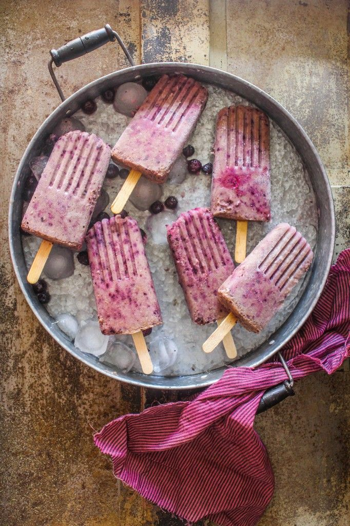 Almond milk, blueberry and banana popsicles. With a base of almond milk, the possibilities are endless!