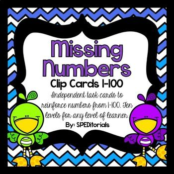 These clip cards are perfect to use in a math center rotation or as independent work in a task box or TEACCH model. Included in this product is 180 task cards on ten different levels: 18: 1-10 18: 11-20 18: 21-30 18: 31-40 18: 41-50 18: 51-60 18: 61-70 18: 71-80 18: 81-90 18:91-100 * All products sold by this store are designed and used for
