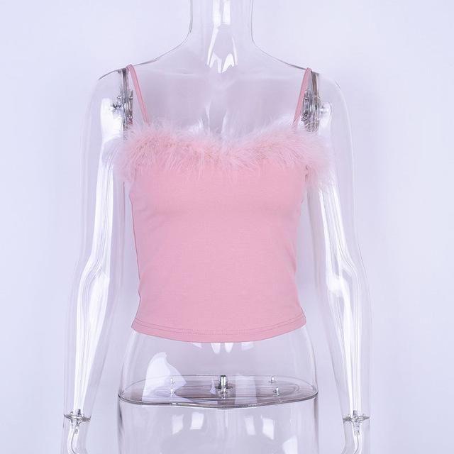 Women Sexy Pink Velvet Bralette Cropped Top Tumblr Cotton Tank Fashion New Female Camisole Elastic Tank Top Shirt Vest Femme