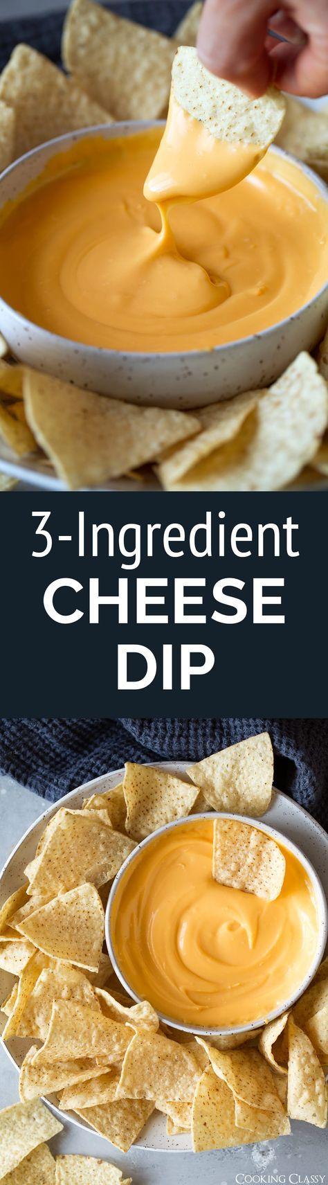 3 Ingredient Cheese Dip - A super easy, totally delicious cheddar cheese dip made with real ingredients! Perfect for parties or game day. #cheesedip #nachocheesedip #queso #easyrecipe via @cookingclassy