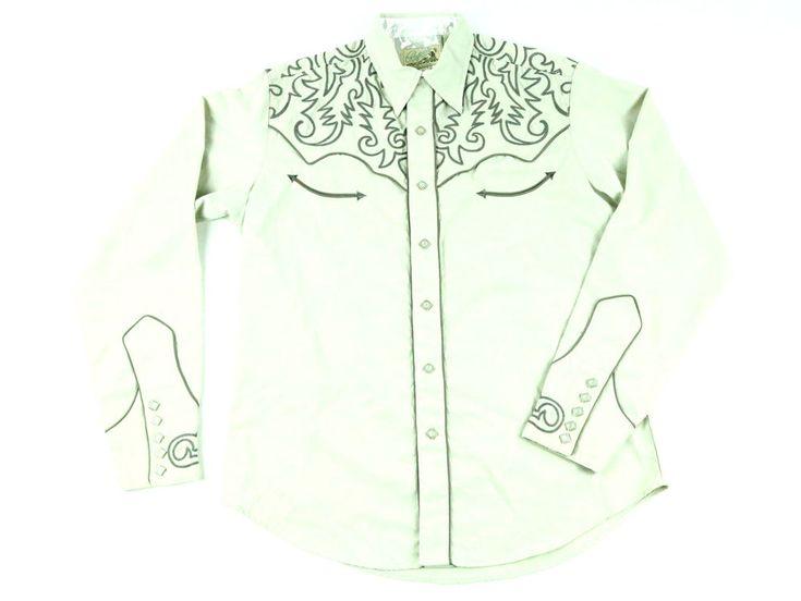 Roper Men's Tan Shirt Long Sleeve Embroidered Western Metal Snap Buttons VTG L #Roper #Western