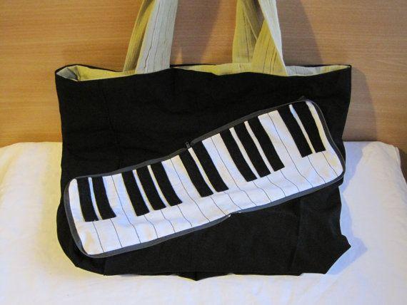 Piano keys zipaway shopping bag by NewLifeBags on Etsy