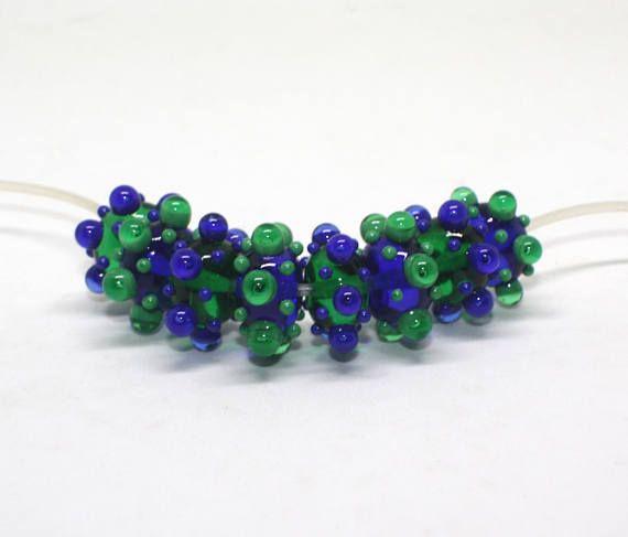 Set 8 Rondelles Beads 12mm Blue Cobalt Green Emerald Mix