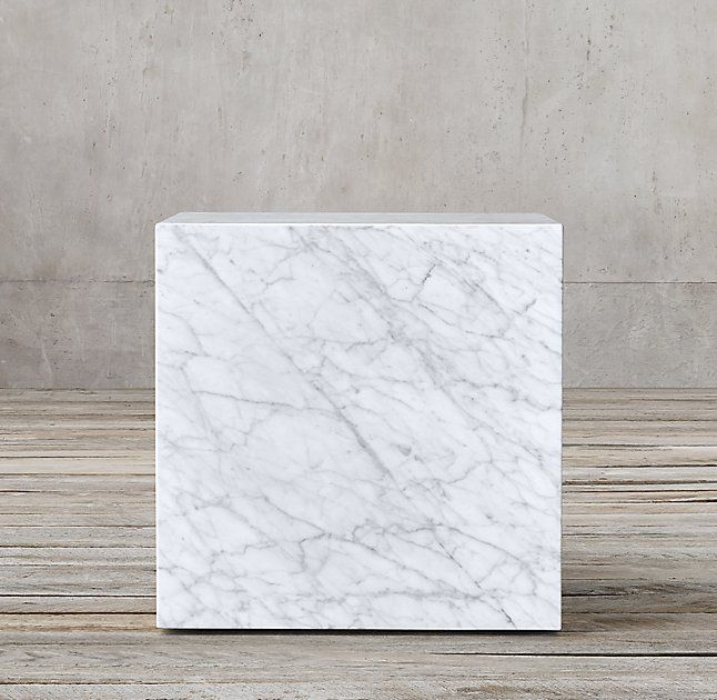 "Marble Plinth Cube Side Table, 193/4""sq.x201/4""H"