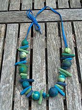 Vilten kralen blauw/groen
