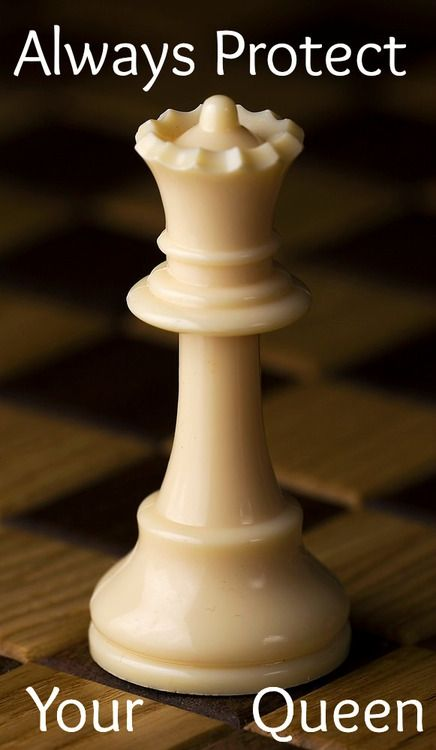 Even though that's a chess piece... And in chess the queen protects