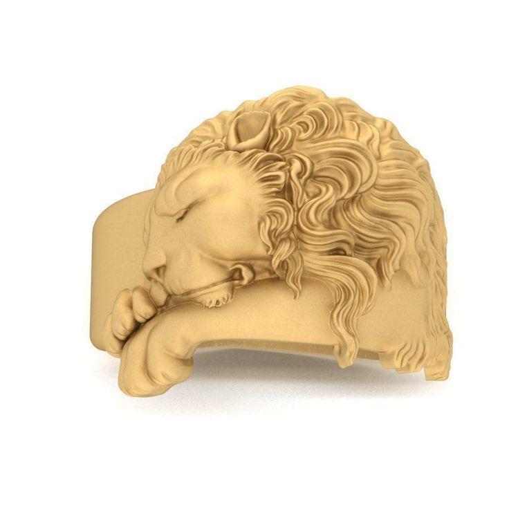ring sleeping lion 3d model obj stl 3dm 1