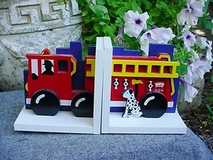 Childs Kid Boys Room Decor FIRE TRUCK ENGINE BOOKENDS Bright Colors by Sasafras | eBay