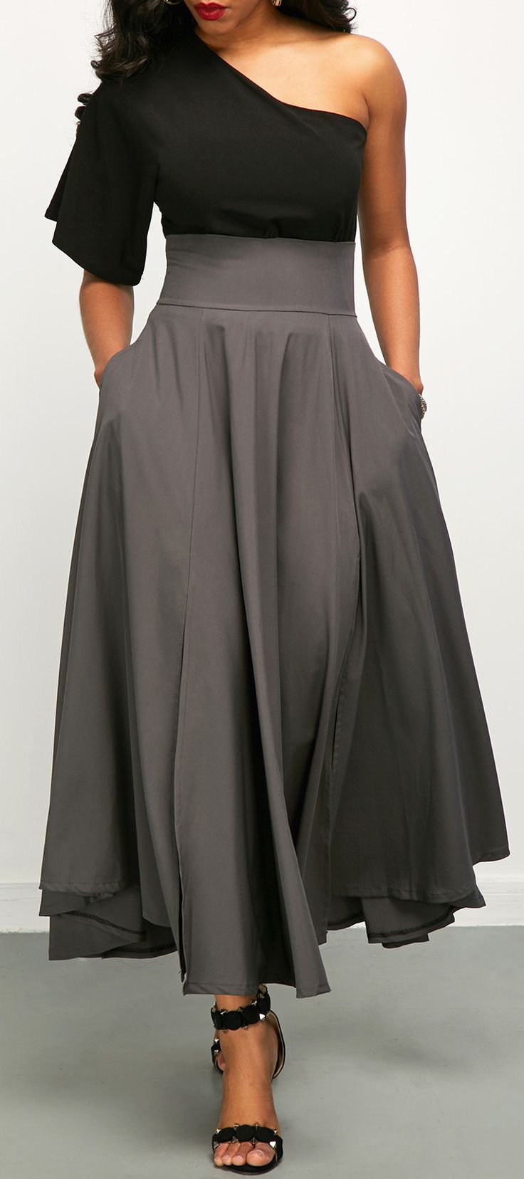 One Shoulder Top and Front Slit Belted Skirt#dress#africanstyle