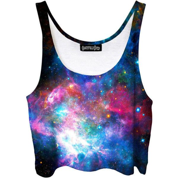 Space Crop Top Galaxy Festival Fashion Blue Purple Stars Pastel Goth... ($40) ❤ liked on Polyvore featuring tops, crop tops, grey, women's clothing, gray tank top, purple tank, cropped tops, blue crop top and crop tank