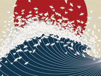 "Source: Project Senbazuru by Jessica Moon. Several well-known Japanese symbols are represented: the red sun, the paper cranes, and the wave, which could either be from Hokusai's ""The Great Wave off Kanagawa"" or the tsunami. The cranes are symbol of hope, and thereby the tsunami, though a destructive force, is redeemed and transformed, or rebuffed by the thousand cranes (""senbazuru"") as it crashes against the red sun."