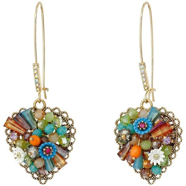 Betsey Johnson Weave and Sew Woven Heart Shepards Hook Earrings ($45) ❤ liked on Polyvore featuring jewelry, earrings, flower jewelry, heart earrings, multicolor earrings, tri color jewelry and heart jewelry