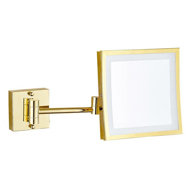 Contemporary Art Sites GURUN Square Inch LED Light Wall mounted folding cosmetic mirror X Magnifying LED Makeup